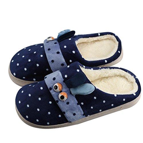 Elevin (tm) Dames Heren Paar Zachte Katoenen Pantoffels Op De Vloer Van De Vloer Zachte Navy-schoenen