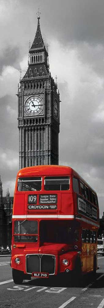 London - Red Bus - Türposter Türposter Städteposter colourlight Foto London - Grösse 53x158 cm + 2 St. Posterleisten Holz 50, 5 cm empireposter