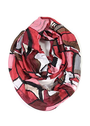 Scarfand's Mixed Color Oil Painting Infinity Scarf (Abstract Red Pink) ()