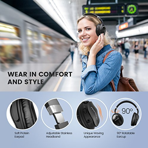 Mpow H5 Active Noise Cancelling Bluetooth Headphones Over Ear, Stereo Wireless 40mm driver Headphones w/ mic, Never Power off with Backup Audio Cable, Foldable Headset with Carrying Case for PC/ Cell Phones/ TV