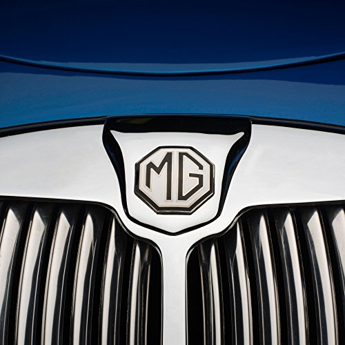 Chrome radiator grill and badge of blue restored 1957 MG-A classic sport scar Poster Print (12 x 12)
