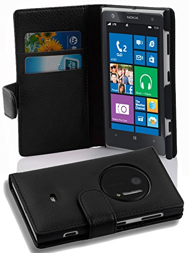 - Cadorabo Case Works with Nokia Lumia 1020 in Oxid Black (Design Book Structure) – with 2 Card Slots – Wallet Case Etui Cover Pouch PU Leather Flip