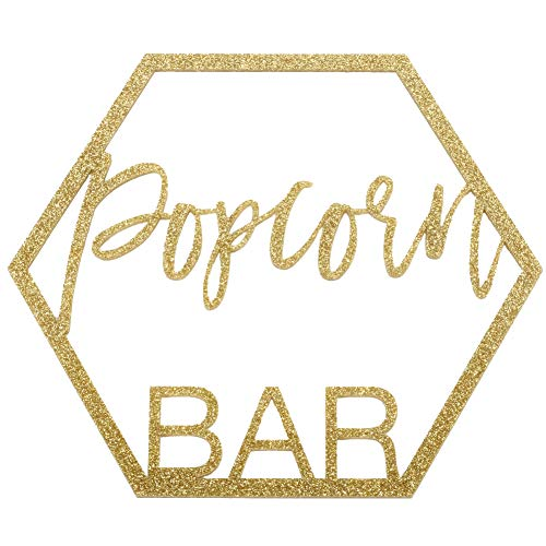 Koyal Wholesale Glitter Acrylic Sign, Wedding Display, Party Banner, Event Decorations for Wedding Engagement Bridal Shower Baby Shower Birthday Party Dessert Bar (Popcorn Bar) -