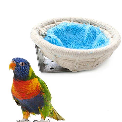 51CoMTTaywL - Buorsa Handmade Cotton Weave Hemp Rope Nests Birds Breeding Hatching Nest Parrot Nesting Box Cage Hatch House Hut Cave for Small Parrots Budgie Cockatiel Parakeet Conure Canary Finch Lovebird