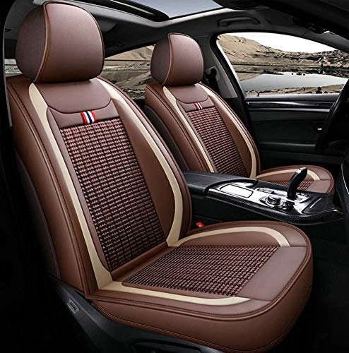 Leather Ice-silk Car Seat Cover- Anti-Slip Suede Backing Universal Fit Car Seat Cushion for Both Fabric and Leather Car Seats,Brown: