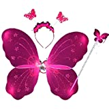 Timall Baby Girl Christmas Costume 3Pcs Set Party Dress Up Fairy Butterfly Wing Wand Headband