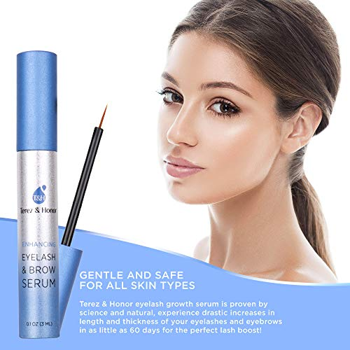 Natural Eyelash Growth Serum and Brow Enhancer to Grow Thicker, Longer Lashes for Long, Luscious Lashes and Eyebrows[3ml] by Terez & Honor (Image #2)