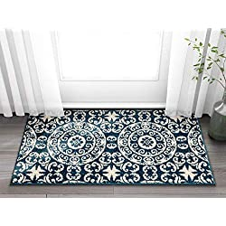 "Well Woven Siq Tiles Blue Oriental Geometric Medallion Contemporary Casual Area Rug 2x4 (2'3"" x 3'11"") Easy Clean Stain Fade Resistant No Shed Modern Traditional Moroccan Persian Living Dining Room"