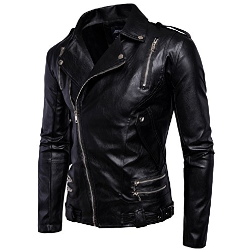 Zipper Biker Belted Motorcycle Fit Leather Black Slim Jacket Men's Design Classic Z6qwPO