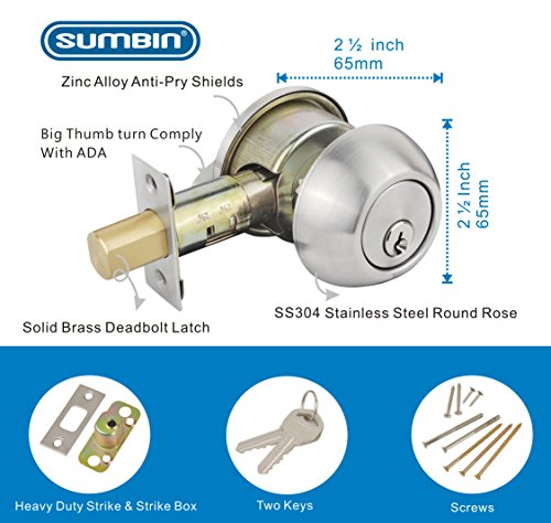 SUMBIN Heavy Duty Single Cylinder Deadbolt Locks With Key.Satin Stainless Steel For Home Office Front Entrance - Stainless Steel Entrance