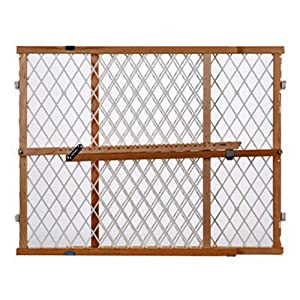"Supergate Wood Frame Diamond Mesh Gate, Fits Spaces between 26.5"" to 42"" Wide and 23"" High"