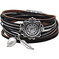 MINILUJIA Vintage Casual Women Leather Watch Small Watch Face 2 Wrap Around Watch with Feather Pearl Magnetic Clasp Black Strap (11.8