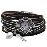 MINILUJIA Mother's Gift Vintage Casual Bohemian Style Women Leather Watch Small Watch Face Double Wrap Around Watch with Feather Pearl Magnetic Clasp Black Strap (11.8'')
