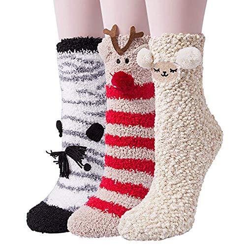 YSense 3 Pairs Womens Super Soft Fluffy Socks Winter Warm Cute Animal Fuzzy Home Slipper Socks