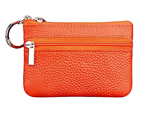 (ETIAL Womens Genuine Leather Zip Mini Coin Purse w/Key Ring Orange )