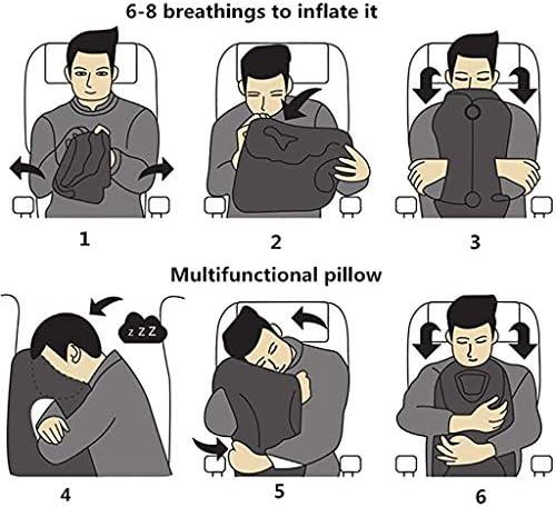 女性と男性のためのインフレータブルトラベルピロー、飛行機枕、トラベルネックピロー、フライト睡眠枕、飛行機車オフィス昼寝のための旅の枕,ブルー
