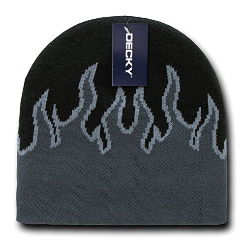 DECKY Short Style Winter Acrylic Fire Flame Pattern Beanie Hat - Black Charcoal ()