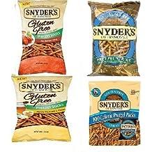Snyder's of Hanover Gluten Free Variety 100 Calorie ,Pretzel Sticks, Hot Buffalo Wing Sticks, Honey Mustard and Onion Sticks 1 each by Snyder's of Hanover