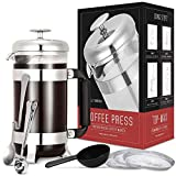 French Press Coffee Maker with Premium Food Grade Stainless Steel Filter System, Heat Resistant Borosilicate Glass Beaker, Brew Up-to 8 Cups Coffee Review