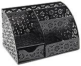 EasyPAG Office Desk Organizer with Drawer Solid Metal Snow Shaped Pattern Design,Black
