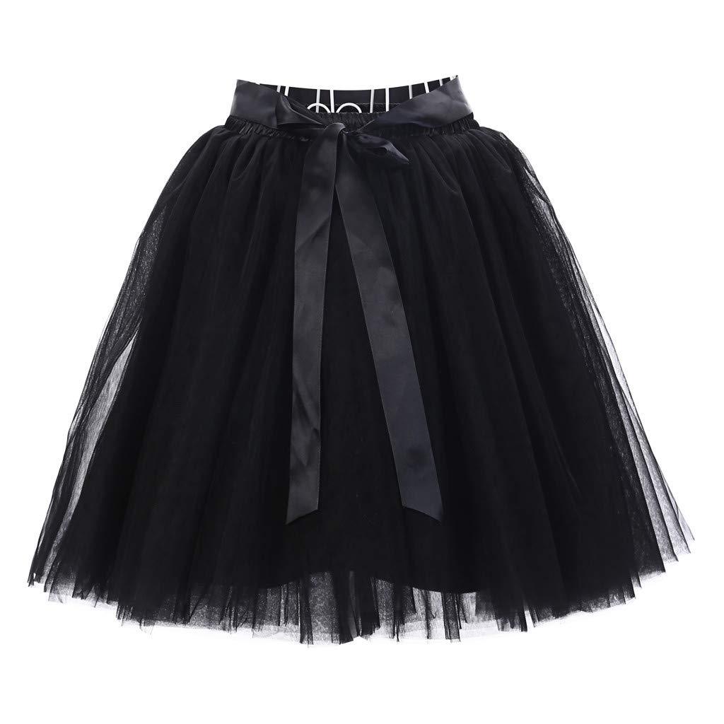 Winsummer Women's A Line Short Knee Length 6 Layer Tutu Tulle Prom Party Skirt Vintage Pleated Gauze Mini Dress Black
