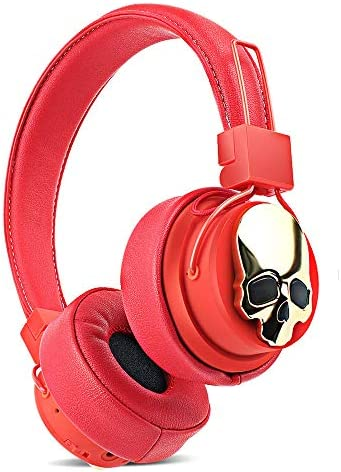 Bluetooth Headphones Over Ear, Hi-Fi Stereo Wireless Headsets & Speaker, Foldable & Soft Memory-Protein Earmuffs, Built-in Mic, TF Card, FM Radio Wired and Wireless for Cell Phone/PC – Red