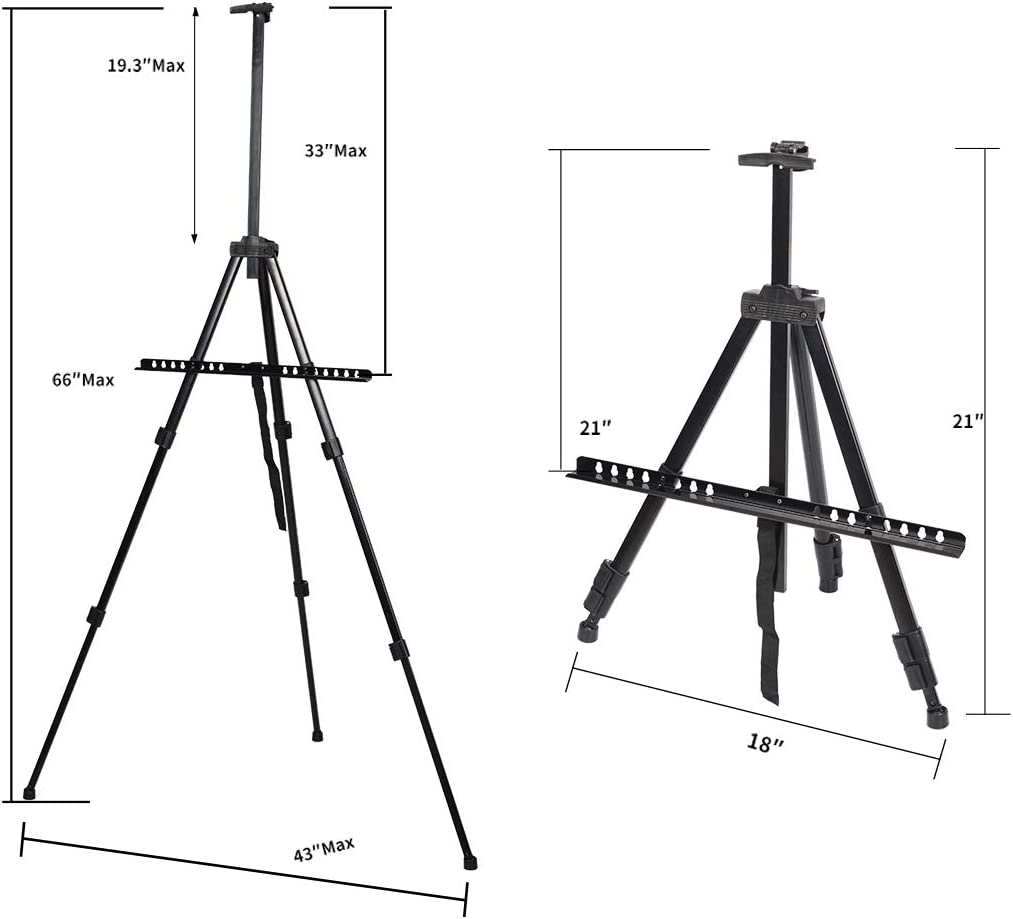 Artist Easel Stand Adjustable Aluminum Metal Tripod Display Easel 20 to 61 inch with Portable Bag for Floor Desktop Beach Painting Mixed Color