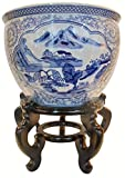 Oriental Furnishings Blue and White Porcelain Garden Pots Painted Landscape (12'' W x 9'' H/Inside Rim 9.25/Base 8.5)