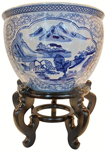 Oriental Furnishings Blue and White Porcelain Garden Pots Painted Landscape (10