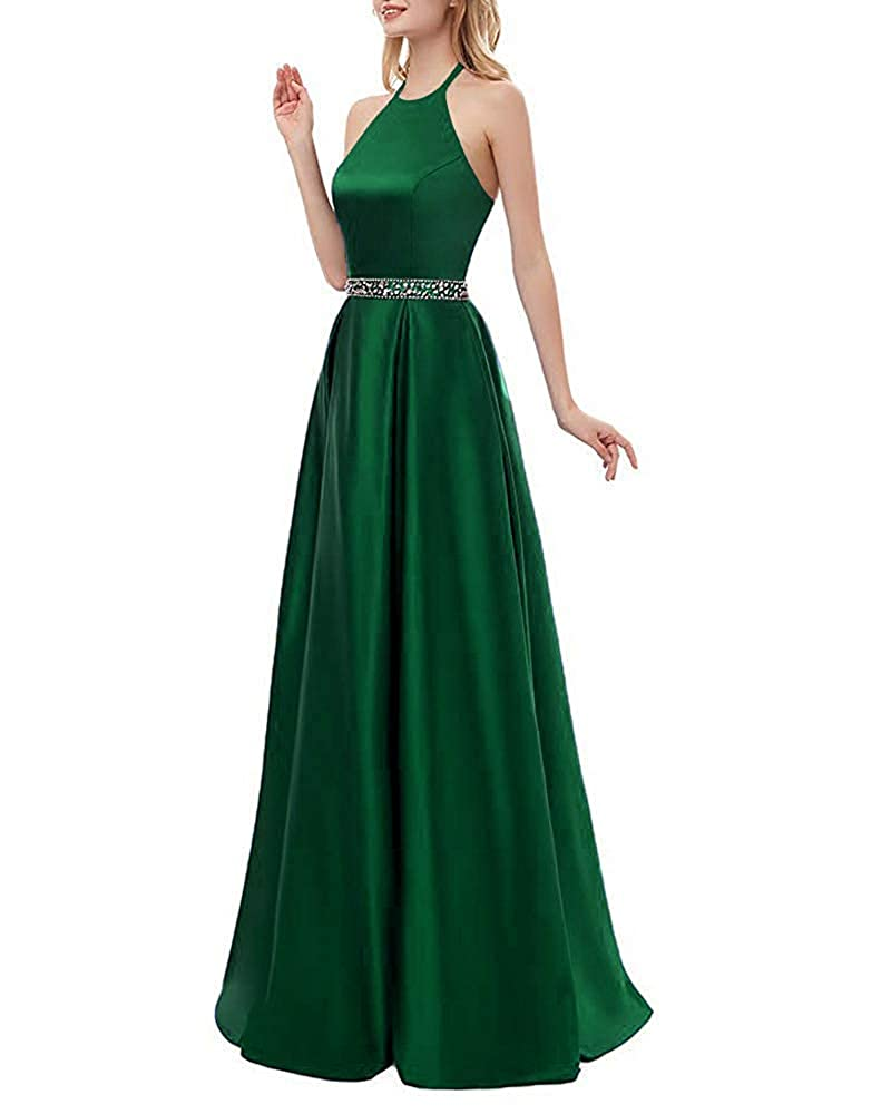 Emerald Beaded ZLQQ Womens Halter Beaded Prom Dress Long with Pockets Slit Beach Wedding Evening Gowns