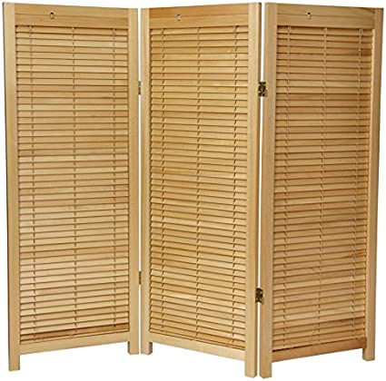 Oriental Furniture Slatted Door Design 4 Feet Shutter Style Folding Privacy Screen Room Divider With Blinds 3 Panel Natural Amazon Co Uk Kitchen Home
