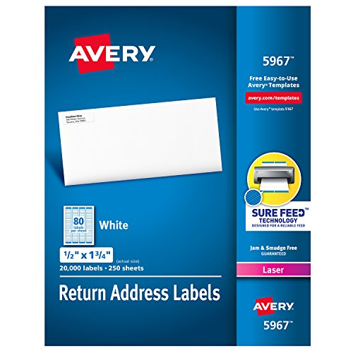 Avery Address Labels with Sure Feed for Laser Printers, 0.5 x 1.75, 20,000 Labels, Permanent Adhesive (5967)