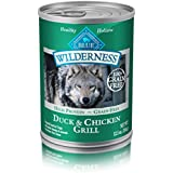 Blue Buffalo Wilderness High Protein Grain Free, Natural Adult Wet Dog Food, Duck & Chicken Grill 12.5-oz can (pack of 12)