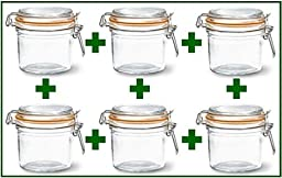 Set of 6 - Le Parfait French Wide Mouth Glass Canning Jars - 12 Oz Each