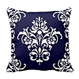 Generic Custom Square Elegant Navy Blue Red And White Damask Pillow Cover Cotton Pillowcase Cushion Cover 20 X 20