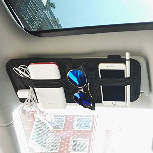 Aolige Sun Visor Organizer Nylon Cotton Fabric Electronic Products Elasticity Storage Board and Cosmetic Storage Board with 1 - Torn Visor