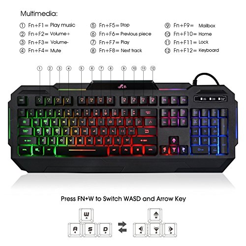 Rii RK903 Large Size Multiple Colors Rainbow LED Backlit Mechanical Feeling USB Wired Multimedia Gaming Keyboard