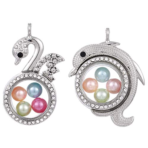 - 2pcs Mixed Silver Swan & Dolphin Living Memory Floating Locket Charms Glass Pearl Cage Rhinestone Pendants - for Pearl Shows DIY Jewelry Making Fun Gifts (Swan + Dolphin)
