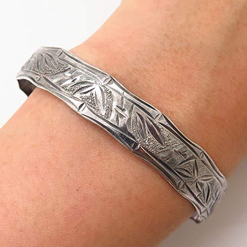 (925 Sterling Silver Bamboo Design Bangle Bracelet 7