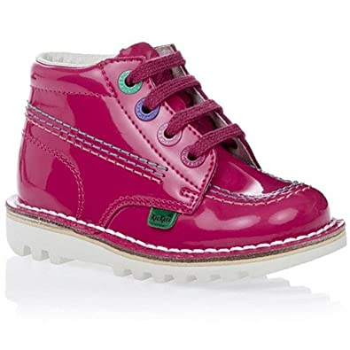 e736c30cba97 Kickers Kick Hi Rainbow Infants Patent Dark Pink Leather Boots:  Amazon.co.uk: Shoes & Bags