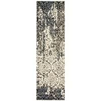 LR Resources MATRI81191SSB2175 Matrix Runner LR81191-SSB2175 Rectangle 2 1 in x 7 ft 5 in Indoor Rug, 2'1' x 7'5', Stone/Silver Blue