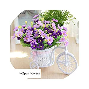 Lucky-fairy Artificial Flower Set Rattan Bicycle Basket Flower Bouquets for Wedding Car Outdoor Indoor Household Table Decor 30