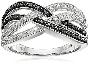 Sterling Silver Black and White Diamond Cross-over Ring (1/7 cttw, J-K Color, I2-I3 Clarity), Size 7