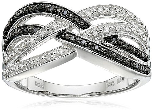 Sterling Silver Black and White Diamond Cross-over Ring (17 cttw J-K Color I2-I3 Clarity) Size 7