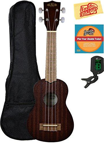 Soprano Cello - Kala KAA-15S Satin Mahogany Soprano Ukulele Bundle with Gig Bag, Austin Bazaar Instructional DVD, Clip-On Tuner, and Polishing Cloth, Bundle w/ Gig Bag, Soprano