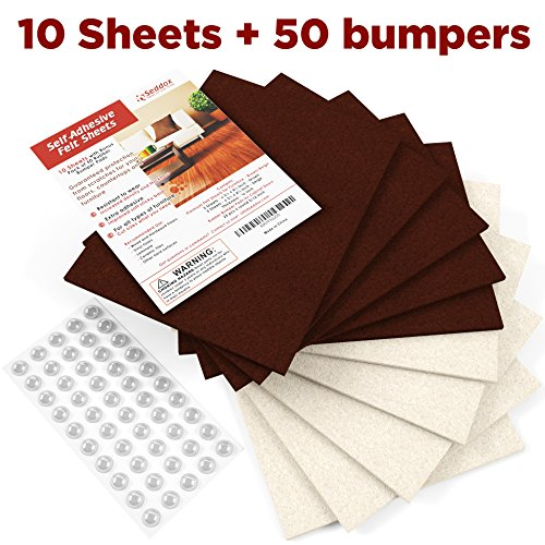 SEDDOX Premium Felt Furniture Pads - 10 Thick & Large Felt Sheets + 50 Rubber Bumpers - Best Furniture Feet Floor Protectors for Your Hardwood Floors - Mix Brown/Beige