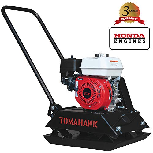 TOMAHAWK 5.5 HP Honda Vibratory Plate Compactor Tamper for Dirt, Asphalt, Gravel, Soil Compaction with GX160 Engine (Engine Compactor Honda)