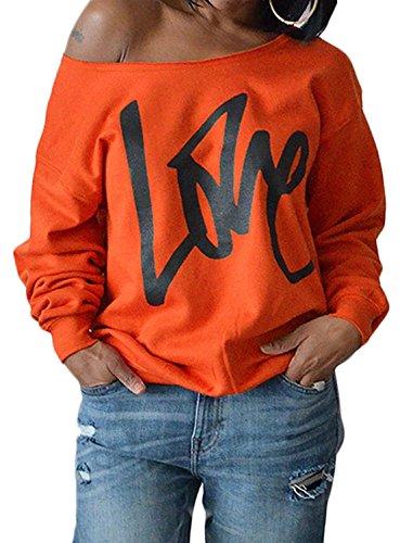 Yanekop Womens Love Sweatshirt Letter Print Off The Shoulder Slouchy Pullover