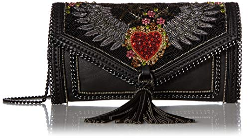 Mary Frances That's That's Amore Embellished Crystal Winged Heart Leather Crossbody Handbag, Multi
