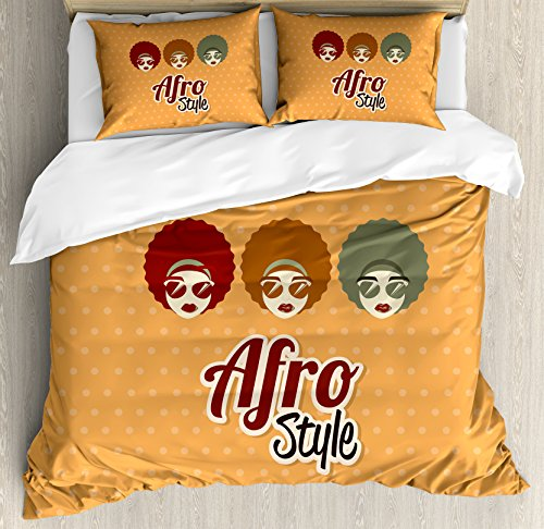 Black Woman Duvet Cover Set King Size by Lunarable, Sunglasses African American Culture Elements with Interesting Hairlines Vintage, Decorative 3 Piece Bedding Set with 2 Pillow Shams, - African Sunglasses